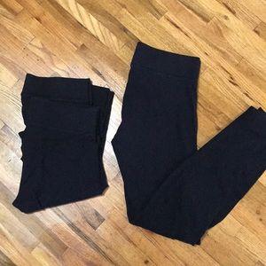 3 Solid Black Wide Band Hue Leggings Medium VGUC